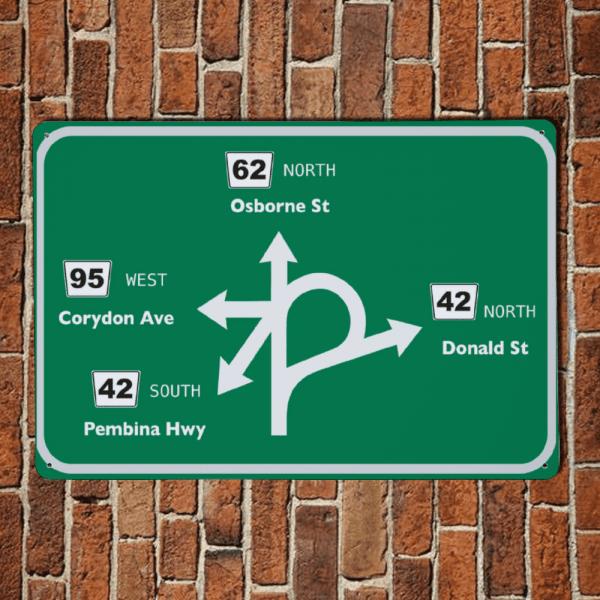 confusion corner aluminum sign